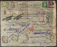 s375) Schweiz - Frankreich Einschreiben 1916 - Irrläufer 6 Portomarken + Zensur