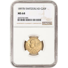 1897 B Switzerland Gold 20 Francs - NGC MS64