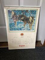 1972 Seagram Fine Whiskies Wall Bar Man Cave Sportsman Calendar 20x14 Sealed NOS