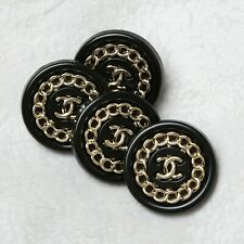 Chanel Buttons 4pc CC Black & Gold 18mm Vintage Style Unstamped AUTH!!!