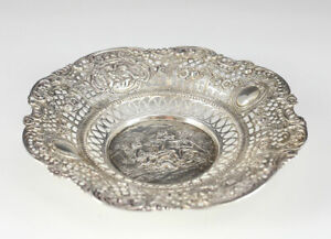 800 Silver Reticulated Repousse Round Bowl c1900, Germany Playful Cherub