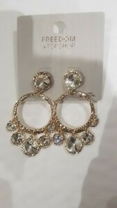 Freedom At Topshop Gold And Silver Gem Hoop Earrings