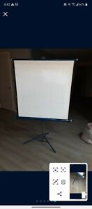 Vintage Da-Lite Silver Flyer Movie Projection Screen 40x40 stand projector