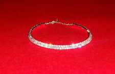 RHINESTONE DIAMANTE 2 ROW CHOKER BRAND NEW UK WEDDING NECKLACE