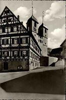 Wiesensteig Schwäbische Alb Postkarte ~1950/60 Aufgang zur Kirche Fachwerkhaus