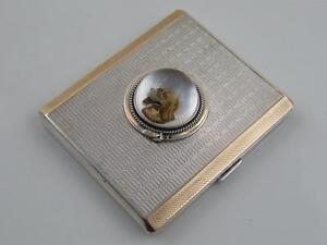 1930 HM SILVER & GOLD   ESSEX CRYSTAL CIGARETTE CASE