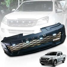 FRONT BLACK GRILLE GRILL CHROME LOGO WITH 4 LED FOR ISUZU D-MAX DMAX 2012 13 14