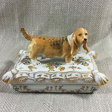 Large Trinket Box Antique Dresden Style China Basset Hound Dog Figure Puppy Vtg