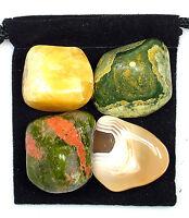 SKIN REPAIR Tumbled Crystal Healing Set = 4 Stones + Pouch + Description Card