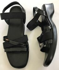 Munro American Sandals Black Size 6N Narrow Slingback And Elastic Ankle Straps