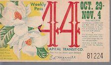 Trolly/Bus pass capital Transit Wash. DC--1950 Magnolia-----50