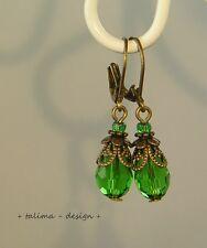 Ohrringe Bronze Kristall Tropfen GRÜN Vintage Burlesque  +handmade+