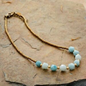 "Beautiful Genuine Amazonite Stone & Seed Beads Choker Necklace Blue Gold 17"""