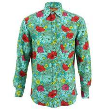 Camicie casual e maglie da uomo verde floreale in cotone