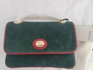 Gucci Suede Small Linea Marina Chain Shoulder Bag Green RedNEW WITH TAGS