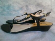 Michael Kors Nora Thong Low Wedge Black Patent Leather Ankle Strap Shoe Size 8.5