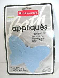 Vintage 1991 NEW Rubbermaid Butterflies Tulips Bathtub Shower Appliques Blue H6