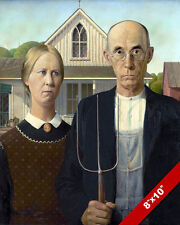 AMERICAN GOTHIC PAINTING GRANT WOOD FINE AMERICAN ART REAL CANVAS 8X10PRINT