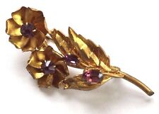 Vintage Brooch - 1940's Gold Color Flower and leaf Pin with Purple stones