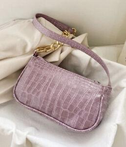 Y2K Style Croc Embossed Baguette Bag Mini Purse Shoulder Bag Lilac Designer