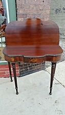 Antique Sheraton Style Mahogany curved Game table with swing out legs
