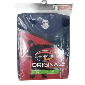 Duofold 2XL Tall L/S Shirt Crew Mid Weight Blue 2 Layer Cotton Merino Wool NEW