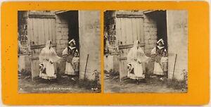 FRANCE Scène de genre La Cigale et la Fourmi c1890 Photo Stereo Vintage PLn2