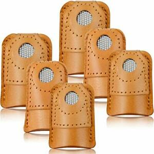 WILLBOND 6 Pieces Sewing Thimble Finger Protector Leather Coin Thimble Pad Th...