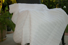 100% Cotton Quilted Shabby Chic White Ruffled Throw Blanket 50x 60 Machine Wash