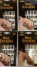 Halloween Stick ongles Noir Métallique Or Argent Halloween Stickers Ongle