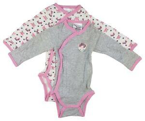 2er Set Baby Body Wickelbody Langarm Unterwäsche Baumwolle Rosa Grau Creme 62-68