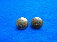 2 X VINTAGE UNKNOWN SHIP 23MM BRASS BUTTONS, VIKING?