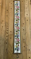 Large Antique Needlepoint Bell Pull Wall Hanging Floral Theme