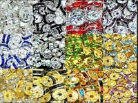 100Pcs Crystal Rhinestone SILVER PLATED Rondelle Spacer Beads Multi Color  6/8MM