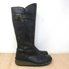 FLY LONDON 'Mol 2' Black Leather Low Wedge Knee High Chukka Boots Size UK 5 38