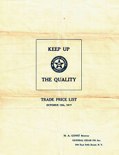 1917 Trade Price List M.A. GUNST GENERAL GIGAR COMPANY 304 E 54th St NY New York
