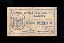 F.C. GANDIA , 1 PESETA , SERIE A , MBC- , SUCIO .