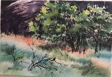 7.5X11 Pamela Wilhelm Original Watercolor Blackbird Summer Thicket Green Mint