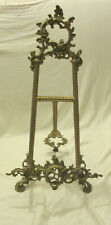 VINTAGE ORNATE VICTORIAN STYLE BRASS EASEL ART PICTURE FRAME TABLE TOP STAND 15""