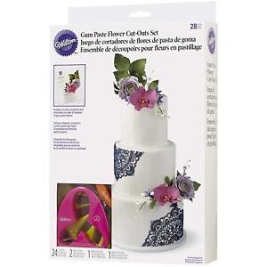 Wilton 28-Piece Gum Paste Sugarcraft Fondant Flower Cake Icing Cutters Set