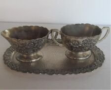 Ornate Vintage Sugar & Creamer w/Matching Tray Marked TK in Diamond Beauty 665