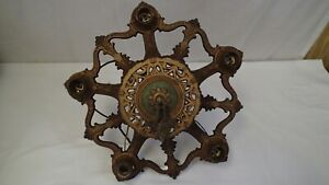 Antique Art Deco Victorian Cast Metal 5 Light Ceiling Fixture Lamp Hanging