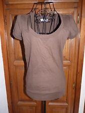 ZARA T-shirt marron long taille S 36 manches courtes épais