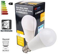 Allcam 10W Bombilla LED B22/BC, 810 LM (~ 60-70W) Incandescente Blanco Cálido, Lámpara De Globo