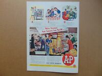 1944 A & P SUPER MARKET Shoppers in Store  art print ad