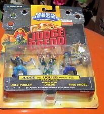 Vintage Mattel Mega Heroes JUDGE DREDD JUDGE vs Uglies 3 Character Pack #3 MOC