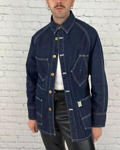 Post O'Alls Overalls Ruff n' Puff Denim Jean Chore Engineer Jacket Coat Sz M