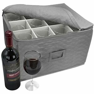 Sorbus Stemware Storage - Deluxe Quilted Case with Dividers - Service for 12 - G