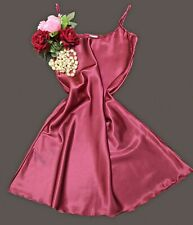 Short Glossy Burgundy Satin Nightdress Nightie Chemise Slip Sizes Uk Small 1952.