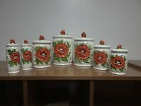 Vintage Sears Roebuck Poppy Kitchen Canister Set | Rare 7 Pieces | 1970s Ceramic